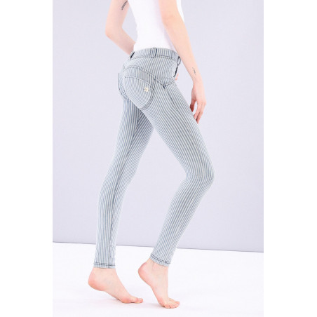WR.UP® Regular Waist Skinny Made In Italy Denim Effect - J0B - Blå/Hvit