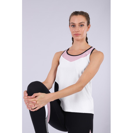Racer Back Yoga Tank Top - Made in Italy - WNP - White & Black & Mauve Shadows