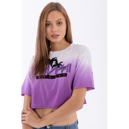 Oversize Cropped T-Shirt - Freddy Miami print - WE53 - Lilla