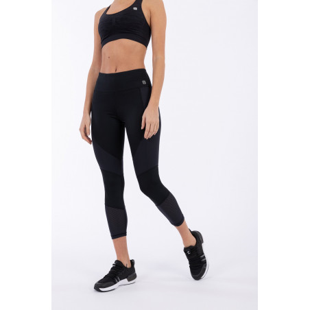 D.I.W.O Superfit High Waist Leggins - 7/8 Length - Mesh Details - N - Black