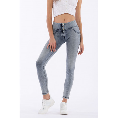 WR.UP® Denim Effect - Mid Waist Skinny - J19B - Bleket Denim - Blå Søm