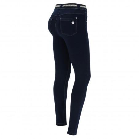 N.O.W.® Pants - Mid Waist Skinny - J0B - Mørkeblå Denim - Blå Søm