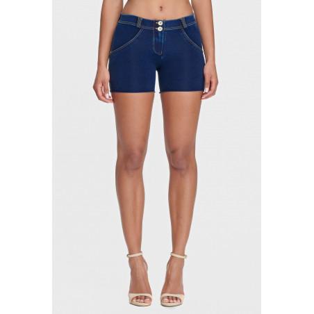 WR.UP® Denim Effect - Regular Waist Shorts - J0Y - Dark Denim - Yellow Seam