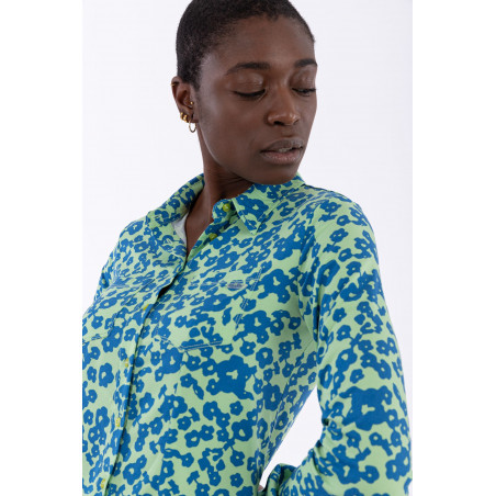 70s'-Style Floral Print Shirt - FLO9 - Allover Flower