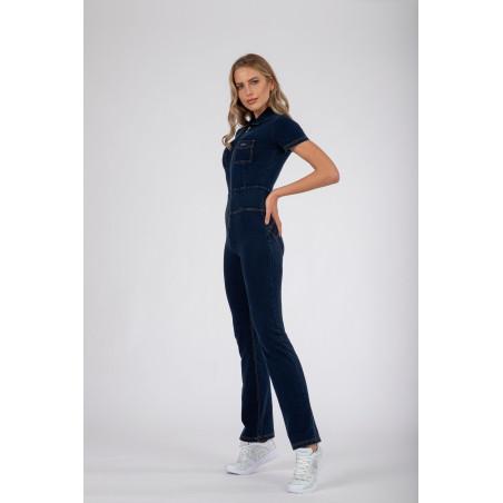 WR.UP® Denim Effect - 70s'-Style Jump Suit - J0Y - Dark Denim - Yellow Seam
