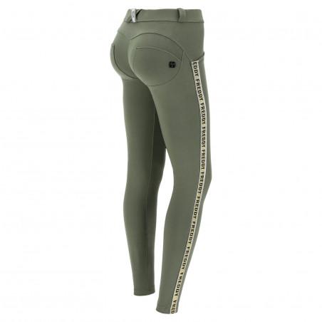 WR.UP® Regular Waist Skinny - Lightweight Fleece With Glitter Bands - V52 - Beetle Green