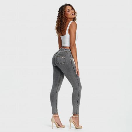 N.O.W.® Pants - Mid Waist Skinny - J3Y - Grey Denim - Yellow Seam