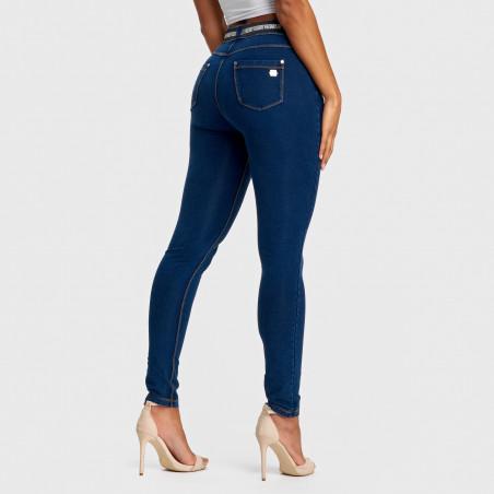 N.O.W.® Pants Mid Waist Skinny - J0Y - Mørkeblå Denim - Gulsøm