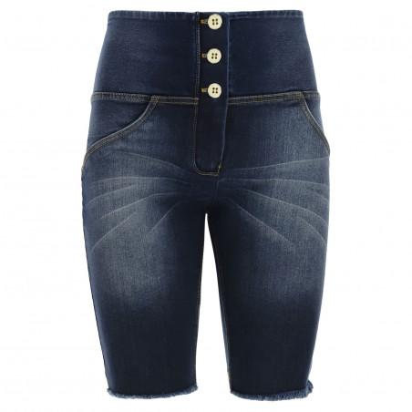 WR.UP® Denim Effect - High Waist Biker Shorts - Frayed Hem - J0Y - Blue Denim - Yellow Seam