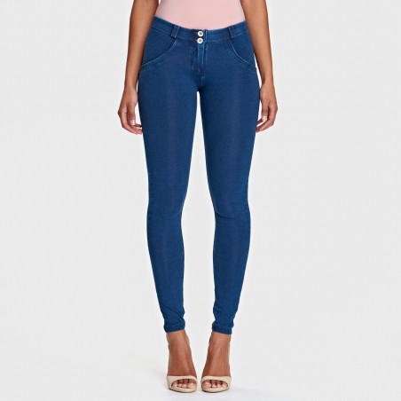 WR.UP® Regular Waist Super Skinny Denim effect - J0B - Mørkeblå denim - Blå søm