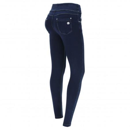 N.O.W® Pants - Mid Waist Skinny - Foldable Waist - J0B - Dark Denim - Blue Seam