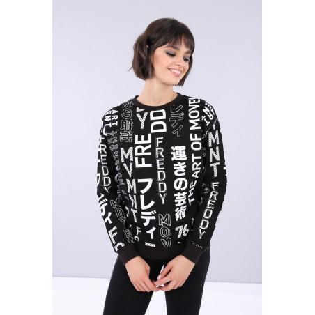 FREDDY Oversized Sweatshirt - NW - Svart/Hvit