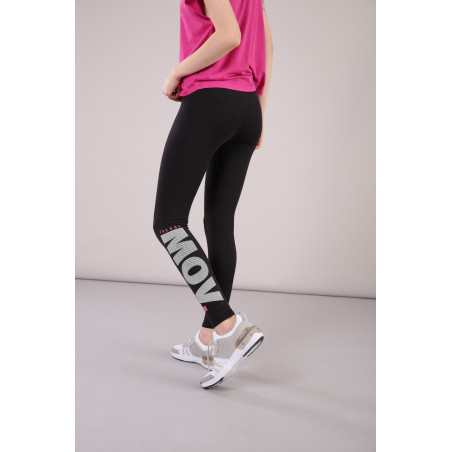 FREDDY Cotton Leggings 7/8 Ankle with Printed Text - N0 - Svart