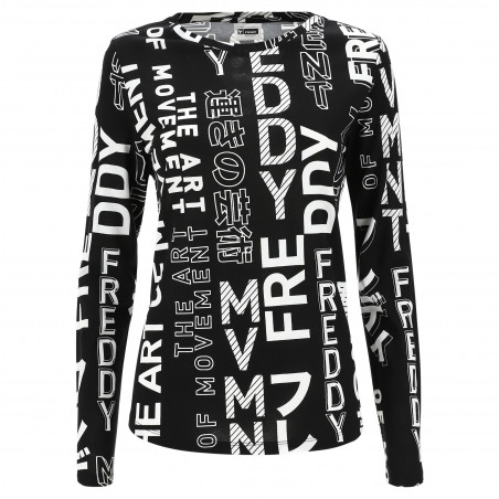 FREDDY Long-sleeved Shirt With Print - NW - Svart/Hvit